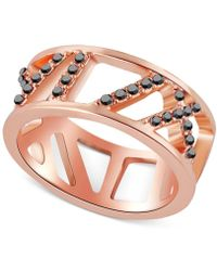 T Tahari - Rose Gold-tone Pave Crystal Cut-out Ring - Lyst