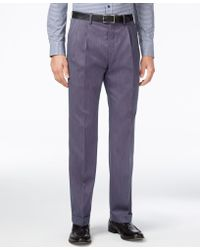 Lauren by Ralph Lauren - Men's Classic-fit Microfiber Neat Pleated Dress Pants - Lyst