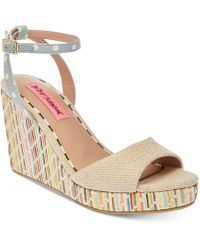 Betsey Johnson - Dotie Wedge Sandals - Lyst