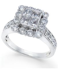 Macy's - Diamond Quad Engagment Ring (2 Ct. T.w.) In 14k White Gold - Lyst