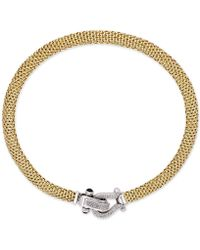 Macy's - Diamond Horseshoe Clasp Mesh Necklace (5/8 Ct. T.w.) In 14k Gold-plated Sterling Silver - Lyst