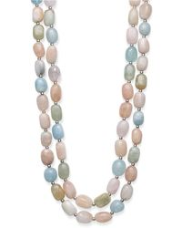 """Macy's - Baroque Shaped Multi-color Morganite 14x10mm Double Row 18"""" And 19"""" Necklace With Sterling Silver Clasp - Lyst"""