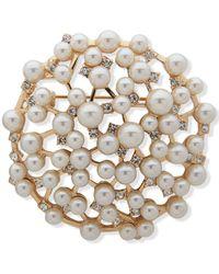Anne Klein Gold-tone Pavé & Imitation Pearl Scatter Pin - White