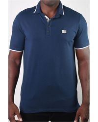 Members Only Basic Short Sleeve Snap Button Polo With Us Flag Logo - Blue