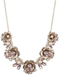 """Marchesa - Gold-tone Crystal & Imitation Pearl Flower Statement Necklace, 16"""" + 3"""" Extender - Lyst"""