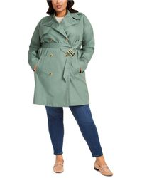 Charter Club Plus Size Belted-waist Trench Coat, Created For Macy's - Green