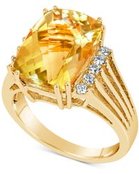 Macy's - Citrine (7 Ct. T.w.) & Diamond (1/5 Ct. T.w.) Ring In 14k Gold - Lyst