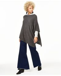 Charter Club Asymmetrical Cashmere Poncho, Created For Macy's - Gray