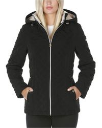Laundry by Shelli Segal Fleece-lined Hooded Quilted Coat - Black