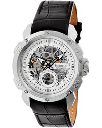 Heritor Automatic Conrad Silver Leather Watches 42mm - Black