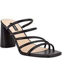 Nine West Girlie Square Toe Strappy Dress Sandals - Black