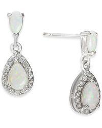 Macy's Opal (5/8 Ct. T.w.) & Diamond (1/4 Ct. T.w.) Drop Earrings In 14k White Gold - Multicolour