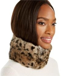 Surell Convertible Rabbit Fur Headband Collar - Brown
