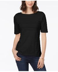 Charter Club - Cotton Textured-stripe Top, Created For Macy's - Lyst