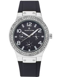 Timothy Stone 'facon' Sporty Chic Crystal Accented Silicone Strap Watch - Metallic