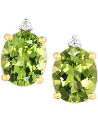 Macy's - Peridot (5 Ct. T.w.) & Diamond Accent Drop Earrings In 14k Gold - Lyst