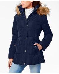 Tommy Hilfiger Faux-fur Trim Hooded Puffer Coat, Created For Macy's - Blue
