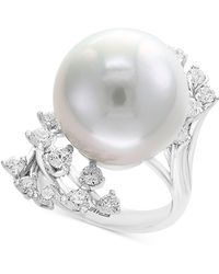 Effy Collection - Pearl By Effy® Cultured Freshwater Pearl (15-1/2mm) & Diamond (1 Ct. T.w.) Ring In 14k White Gold - Lyst
