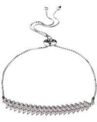 Nicole Miller Double Row Cubic Zirconia Slider Bracelet - Metallic