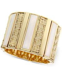 Laundry by Shelli Segal - Gold-tone Shell Stone Woven Stretch Bracelet - Lyst