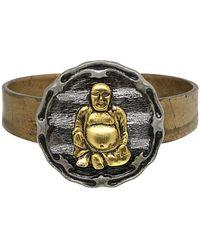 1928 T.r.u. By Matte 14 K Gold Dipped Hinged Bracelet - Metallic