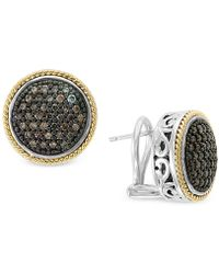 Effy Collection - Diamond Round Filigree Stud Earrings (1/2 Ct. T.w.) In Sterling Silver And 18k Gold - Lyst