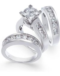 Macy's - Diamond Princess Cluster Bridal Set (4 Ct. T.w.) In 14k Gold - Lyst