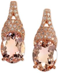 Effy Collection - Effy® Morganite (3-1/3 Ct. T.w.) & Diamond (1/5 Ct. T.w.) Drop Earrings In 14k Rose Gold - Lyst