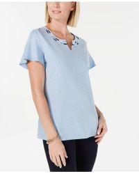 Karen Scott Embroidered Split-neck Top, Created For Macy's - Blue