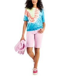 Style & Co. Tie-dyed Lightweight Short-sleeve Sweatshirt, Created For Macy's - Multicolor