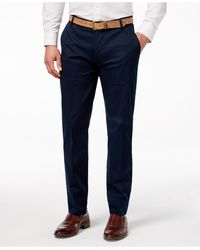 Vince Camuto - Men's Navy Hero Print Slim-fit Stretch Cotton Trousers - Lyst