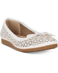 Giani Bernini Odeysa Memory Foam Perforated Ballet Flats, Created For Macy's - White