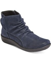Clarks Collection Women's Cloud Steppers Sillian Chell Booties - Blue