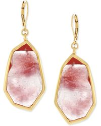 Vince Camuto - Rose Gold-tone Pink Stone Drop Earrings - Lyst