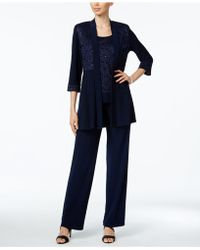 R & M Richards Sequined Lace 2-pc. Set - Blue