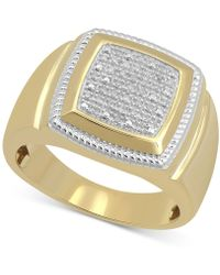 Macy's - Diamond Cluster Style Ring (1/10 Ct. T.w.) In 18k Gold-plated Sterling Silver - Lyst