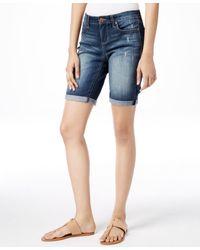 Vintage America - Boho Destructed Wash Denim Bermuda Shorts - Lyst