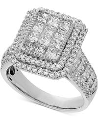 Macy's - Diamond Princess Halo Engagement Ring (2 Ct. T.w.) In 14k White Gold - Lyst