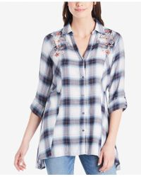 Vintage America - Ries Embroidered Plaid Shirt - Lyst