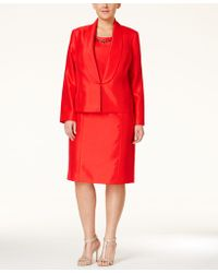 Kasper - Plus Size Evening Jacket & Beaded Sheath Dress Suit - Lyst