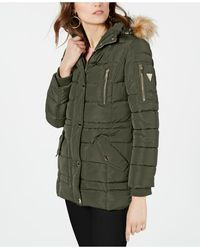 how to orders Sales promotion sold worldwide Guess Synthetic Faux-fur-trim Corset Puffer Coat in Olive ...