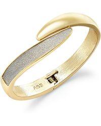 ABS By Allen Schwartz - Gold-tone Glitter Bypass Bangle Bracelet - Lyst
