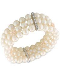 Carolee - Silver-tone Imitation Pearl Three-row Stretch Bracelet - Lyst