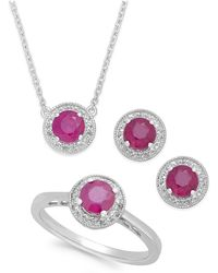 Macy's - Emerald (2 Ct. T.w.) And White Topaz (1/2 Ct. T.w.) Jewelry Set In Sterling Silver - Lyst
