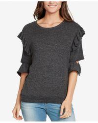 William Rast - Ruffled Cutout-sleeve Sweatshirt - Lyst