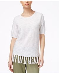 G.H.BASS - Fringed Elbow-sleeve Sweater - Lyst