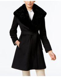 Forecaster - Rex Rabbit-fur-trim Wrap Coat, Only At Macy's - Lyst