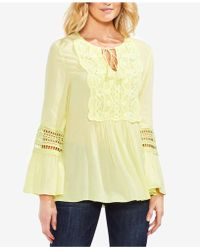 Vince Camuto - Bell-sleeve Lace-appliqué Top - Lyst