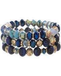 Catherine Malandrino - Blue Toned Beaded Three Layer Yellow Gold-tone Stretch Bracelet - Lyst