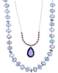 Lonna & Lilly - Silver-tone Blue Bead 2-in-1 Necklace - Lyst